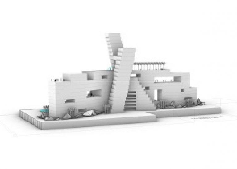 Ellis Island - 3d rendering side view
